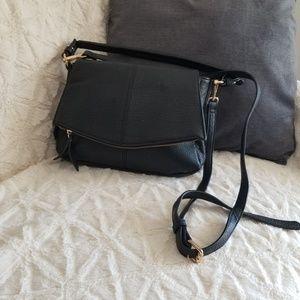Black Leather Crossbody Bah